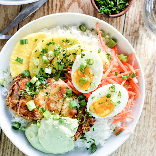 Sweet Chili Pork Cutlet Rice Bowls with Avocado Cream.