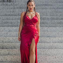 A Modern Day Helen of Troy by Brian Brown - People Fashion ( curvy, fashion, dress, woman, power, legs, beauty, goddess, curves, eyes,  )