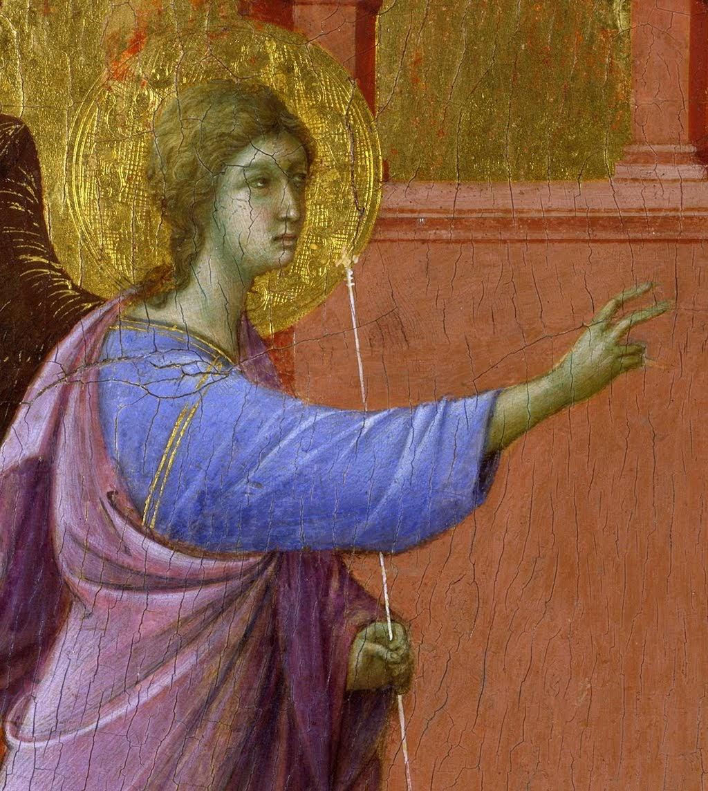 Duccio di Boninsegna, Maestà del Duomo di Siena (particolare dell'Angelo) (1308-1311), tempera e oro su tavola, dal Duomo di Siena, Londra, National Gallery