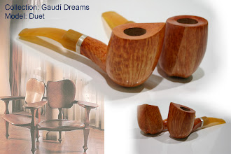 Photo: Duet – doble-model inspired by pieces of Gaudí's interior. The pipe-curves are formed with the same spirit.