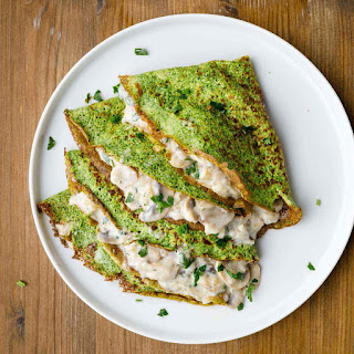 Spinach Crepes with Creamy Mushroom Filling Recipe