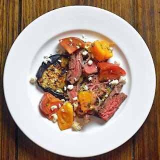 Grilled Skirt Steak with Charred Eggplant and Heirloom Tomatoes