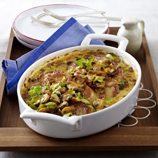 Pork Chops with Mushroom and Leek Gratin