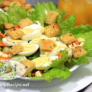 Egg Lettuce Salad with Garlic Herb Croutons.