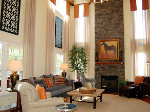 Photo: The two-story great room and fireplace in our PRESTON model home at Winding Brook Estates in Saratoga