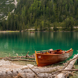 by Mario Horvat - Transportation Boats ( dolomites, forest, water, lake, trees, boat, italy )