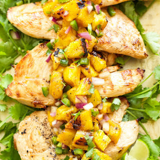 Tequila Lime Chicken with Grilled Pineapple Mango Salsa.