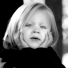Just wondering by Amy Laskye - Babies & Children Child Portraits ( child photography, dreaming, child portraits, black and white, girl child, girl, child )