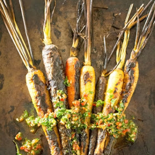 Grilled Rainbow Carrots with Chili Chimichurri