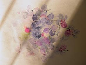 Photo: 3/27/12 Blue magnolias. Foam print on watercolor.