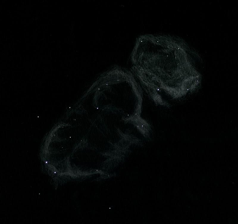"""Photo: IC 1848, """"l'Embryon"""", dans la constellation de Cassiopée. Vue avec filtre OIII dans le T406, à 88X. Restefond en juillet 2014, ciel très transparent et seeing excellent. Jamais détectée auparavant pour ma part."""