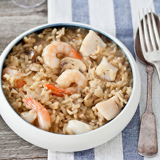 Shrimp and Bay-Scallop Risotto with Mushrooms.