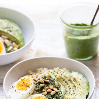 Savory Pesto Quinoa Breakfast Bowls.