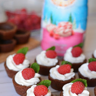 Chocolate Cookie Cups filled with White Chocolate Raspberry Cream.