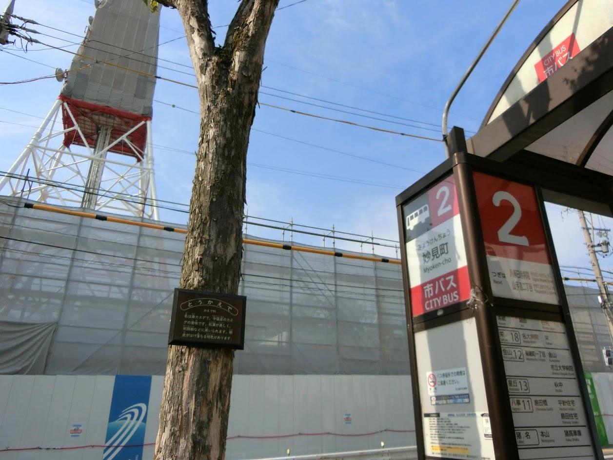 妙見町バス停と電波塔東山タワー