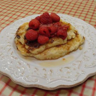 Cheesecake Pancakes with Berry-Lemon Syrup
