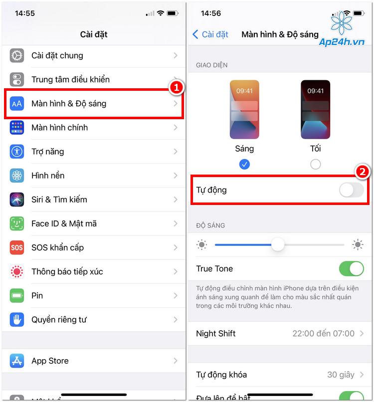 Thiệp lập chế độ nền tối trên iPhone theo mặc định