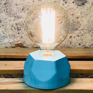 Lampe béton couleur turquoise