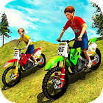 Kids Downhill Mountain Motorbike Riding Icon