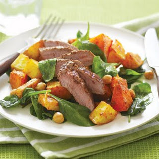 Spiced Lamb With Crispy Roasted Veges And Chickpeas