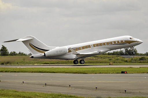 Tracker disconnected: The Guptas' infamous Bombardier Global 6000 registered as ZS-OAK would be unable to fly legally anywhere in the world if an application by Export Development Canada to have it deregistered succeeds. Picture: SUPPLIED