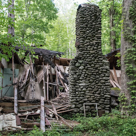Old House 2016 by Thomas Shaw - Buildings & Architecture Decaying & Abandoned ( elkmount, now, green, 2016, tennessee, trees, forest, house, chimney, woods, rocks, smoky mountains, decay, abandoned,  )
