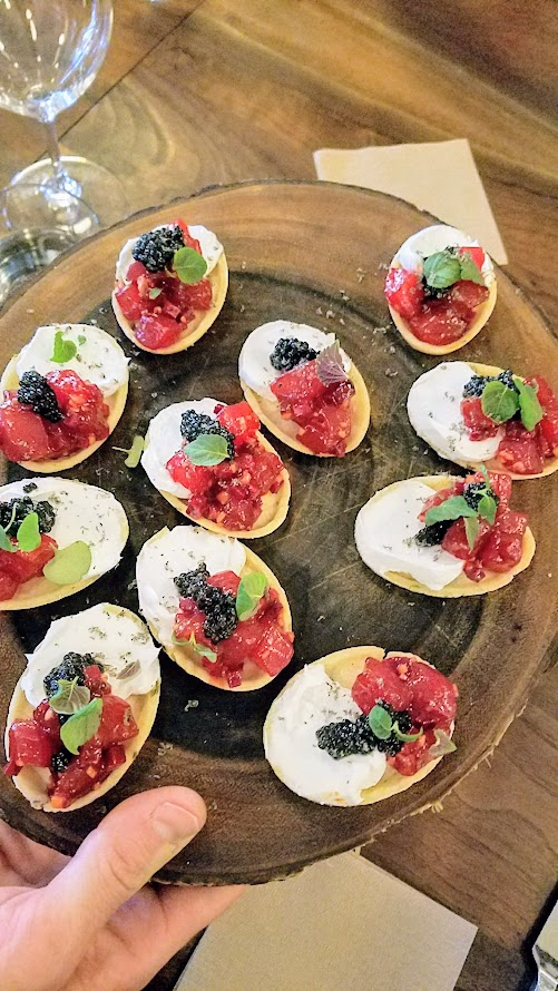 Chefs Week PDX 2017 Heritage Dinner at Chesa on May 7, Snacks, Tuna Tart with Beet Nikiri and Caviar