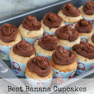 Moist Banana Cupcakes With Chocolate Buttercream Frosting.