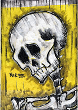 "Photo: Calaveras #47.  2.5/3.5"" or 6/9 cm.  Mixed medium on archival paper.  Signed and sealed.  ©Marisol McKee"