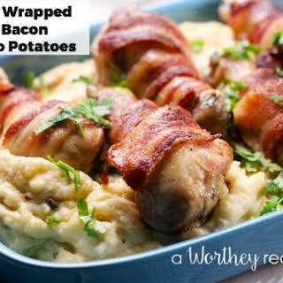Chicken Wrapped Bacon & Alfredo Potatoes.