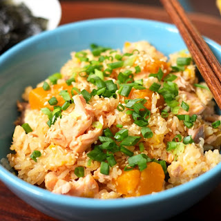 Japanese Steamed Salmon and Pumpkin Rice
