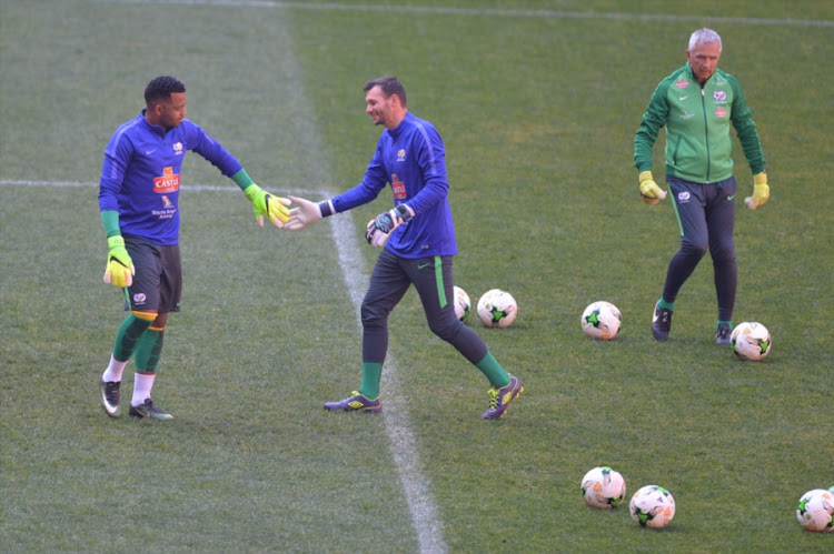 Bafana Bafana goalkeepers Itumeleng Khune, Daren Keet and Alex Heridia during the South African national mens soccer team training session at FNB Stadium on June 07, 2017 in Johannesburg, South Africa.