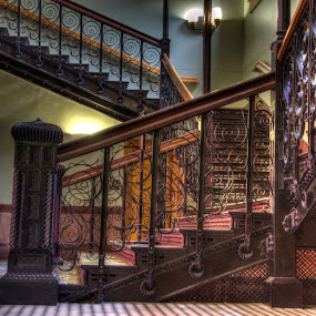 Iron Stairs by Michael McMurray - Buildings & Architecture Other Interior ( interior, old red courthouse museum, stairs, dallas, architectural detail, wrought iron, museum, cast iron, old red courthouse )
