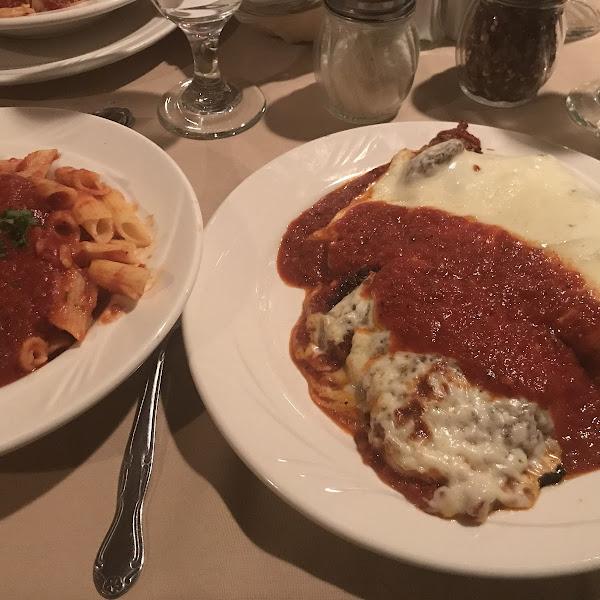GF Chicken Parmigiana and gf pasta.