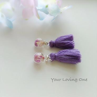 紫色流蘇滿天星耳環
