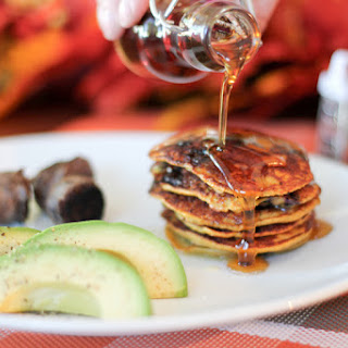 Paleo Peach Blueberry Pancakes