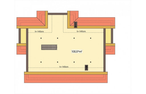 Agat wersja B dach 32 stopnie - Rzut poddasza