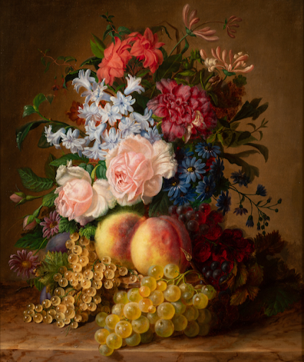 Segoura Fine Art - Virginie Sartorius : Nature morte au bouquet et aux fruits