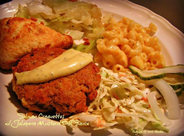 Salmon Croquettes W/jalapeno Mustard Dill Sauce Recipe