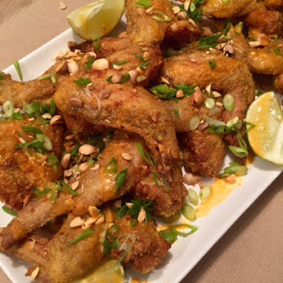 Crispy Baked Curry Wings with Coconut Sriracha Dipping Sauce