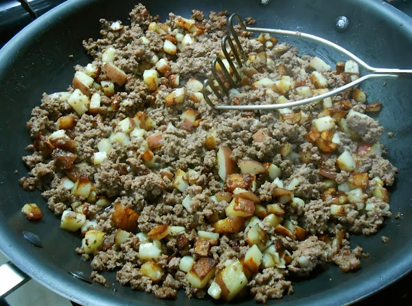 MEAT & POTATO BURRITO: I dice up the potatoes fairly small and begin cooking...