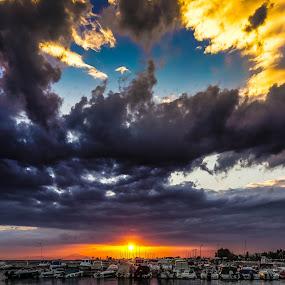 Dramatic sunset by Zisimos Zizos - Landscapes Sunsets & Sunrises ( clouds, sunset, greece, athens, clouds and sea, cloudscape, seascape, sunrise )