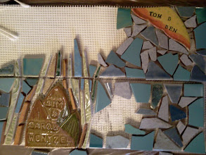 Photo: Details of ceramic-tile steps in progress at the first public tile-making workshop (Saturday, December 1, 2012, Christ Church Lutheran community hall in San Francisco's Sunset District) for the Hidden Garden Steps project (16th Avenue, between Kirkham and Lawton streets) in San Francisco's Inner Sunset District; project artists: Aileen Barr and Colette Crutcher.For more information about the project, please visit http://hiddengardensteps.org.