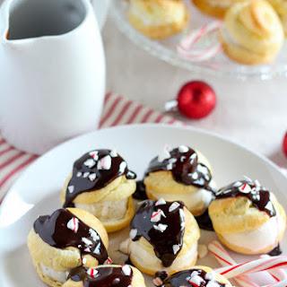 Profiteroles with Vanilla Ice Cream and Peppermint Hot Fudge