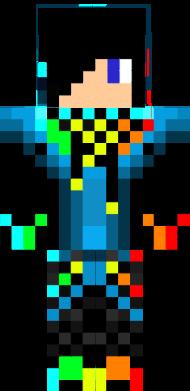 Garçon avec un sweet bleu et touches multicolores