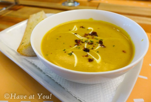Roasted Pumpkin Soup with bread
