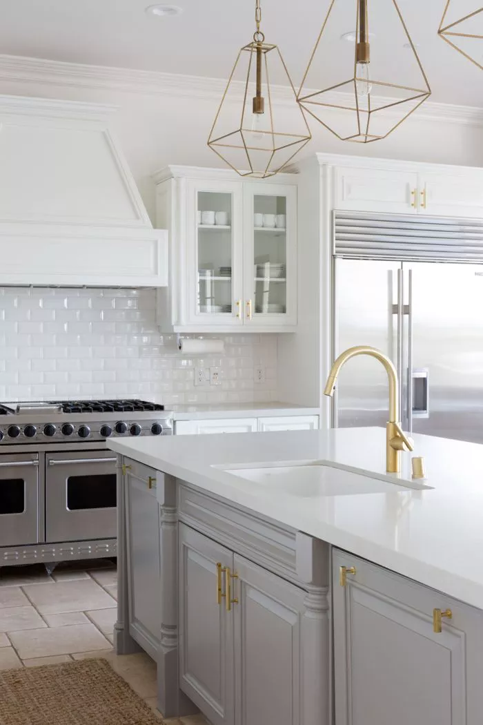 classy grey kitchen cabinets gold sink faucet white and grey island, gray cabinets with gold hardware