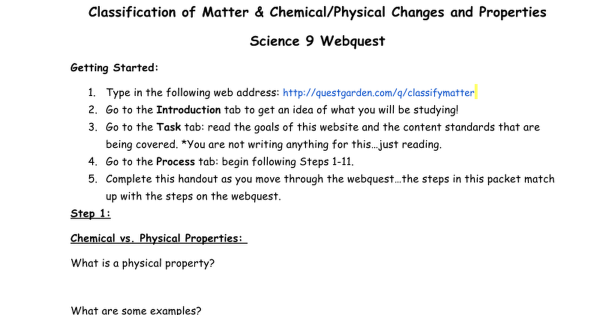 Classification Of Matter Webquest Handoutcx Google Docs