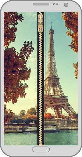 Paris zipper lock screen