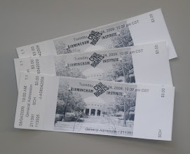 Photo: our tickets to the Institute